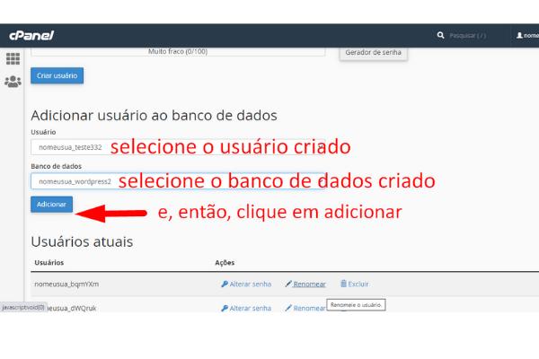 adicionando usuario ao banco de dados criado - dando permissao
