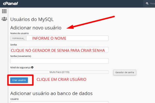 criar o usuario para o bd