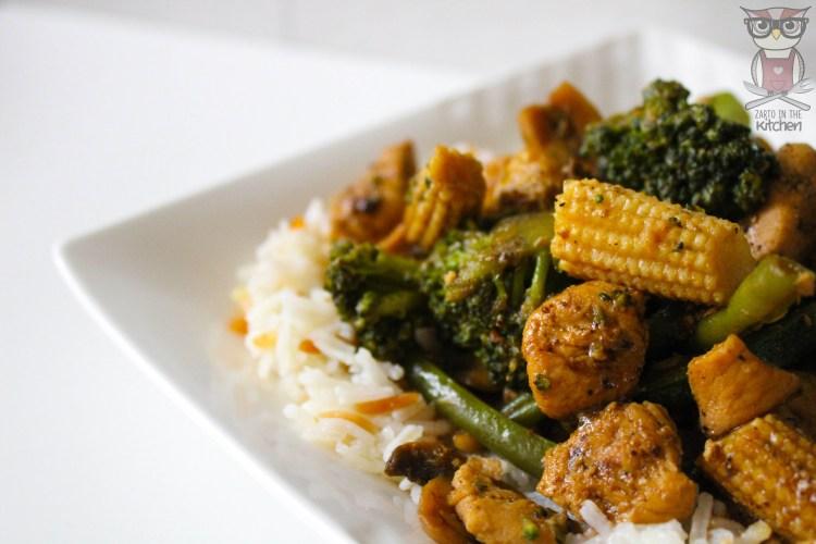 Black chilli chicken met rijst