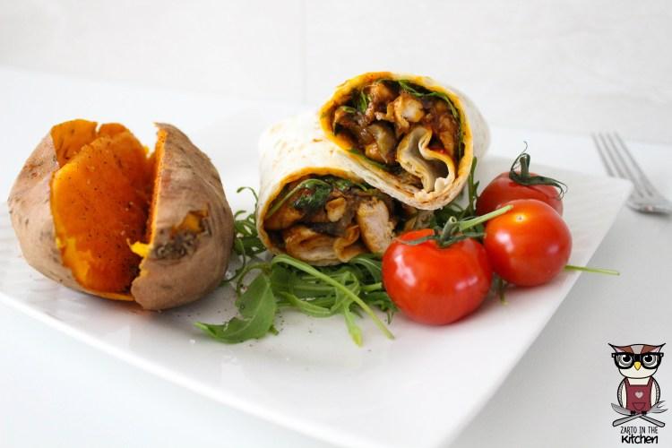 Wrap met zoete kip en gegrilde aubergine