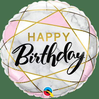 Folienballon Happy Birthday edler Marmor Gold
