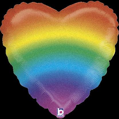 Folienballon Glitter Regenbogen Herz LGBT Pride