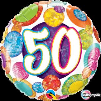 Folienballon Geburtstag Zahl 50 Glitzer Punkten