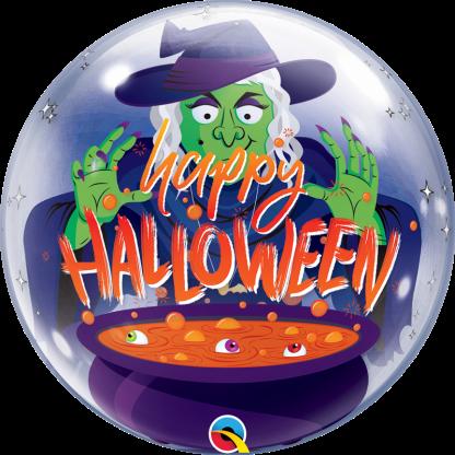 Ballon Halloween Hexe mit Hexentopf