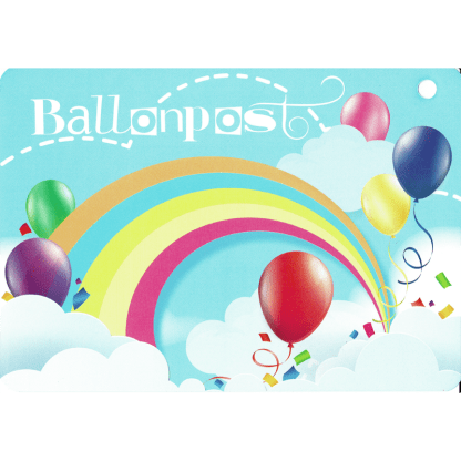 Ballonkarte Ballonpost mit bunten Heliumballons