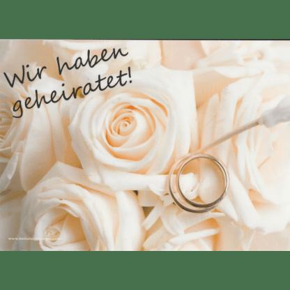 Ballonkarte weisse Rosen mit Trauringen