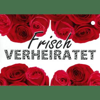 Ballonkarte Frisch verheiratet rote Rosen