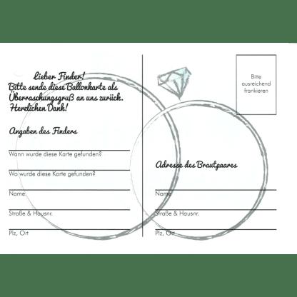 Ballonflugkarten Hochzeit Frisch verheiratet schwarze Herzen Ballon Karten 2