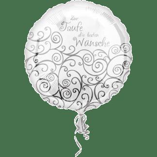 Folienballon Taufe die besten Wünsche weiss silber