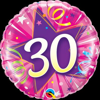 Folienballon Geburtstag Zahl 30 strahlende Sterne pink