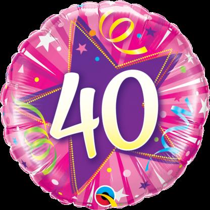 Folienballon Geburtstag 40 Luftschlangen Pink