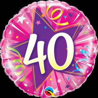 Folienballon Geburtstag Zahl 40 strahlende Sterne pink