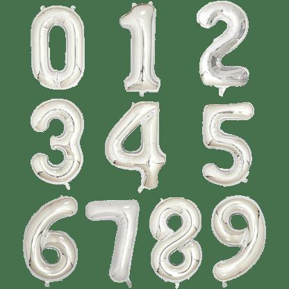 Folienballon Zahl Silber Geburtstag