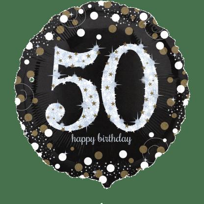 Folienballon Geburtstag Zahl 50 Glitzer Edel