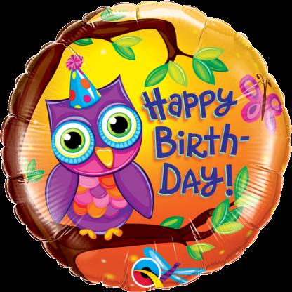 Zum Geburtstag Happy Birthday mit Eule bunt