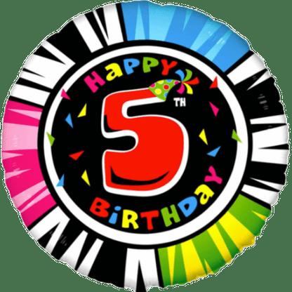 Folienballon Geburtstag Zahl 5 bunt