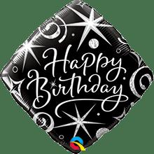 Ballon Folienballon Happy Birthday edel schwarz Silber