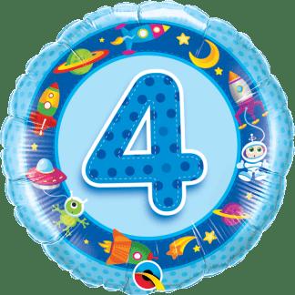 Folienballon Geburtstag Zahl 4 Blau Weltall Astronaut Alien