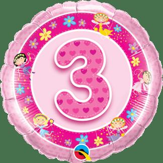 Folienballon Geburtstag Zahl 3 Feen Pink