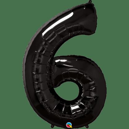 Folienballon Zahl 6 Schwarz