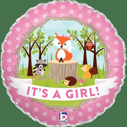 It's a Girl Folienballon zur Geburt Waldtiere