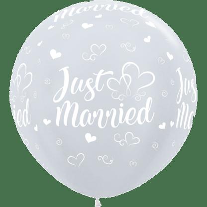 Sempertex Rundballon 90 cm Just Married Pearl Weiss