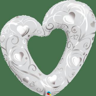 Herz Hochzeit Folienballon Ballon Silber Weiss