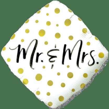 Folienballon Mr. & Mrs. Weiss / Gold