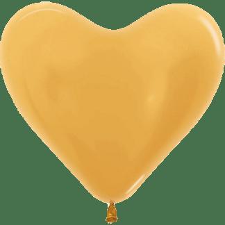 Sempertex Herzballons 35 cm Metallic Pearl Gold