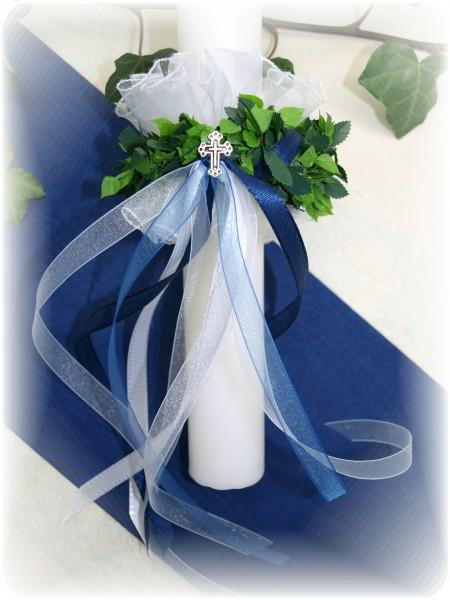 Set Tropfschutz und Kerzenring Blau Kommunion