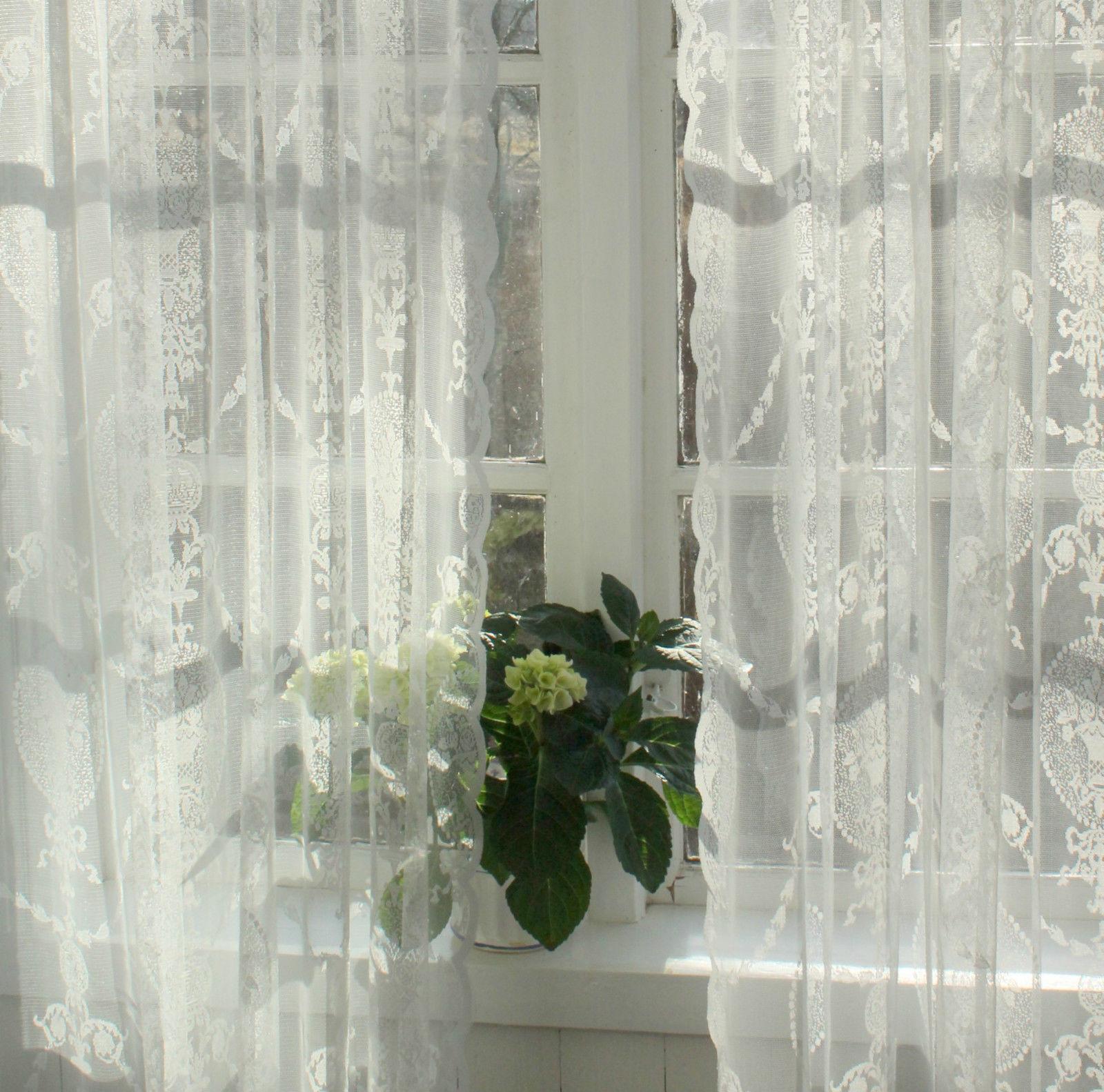 Vorhang AVERY Offwhite Spitzen Gardine 140x240 cm 2 Stck