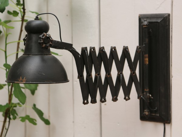 Wandlampe MALO Industrie ausziehbar E14 Scherenlampe Antik Vintage Retro Loft Shabby Used Style
