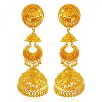 22K Gold Jhumka Earring - AjEr64062 - 22K Gold Jhumka ...