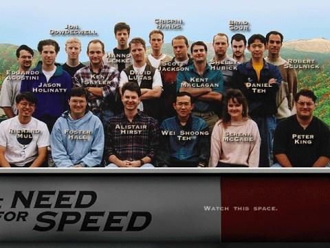 Immagine di gruppo per il team di sviluppo dell'originale The Need for Speed del 1995.