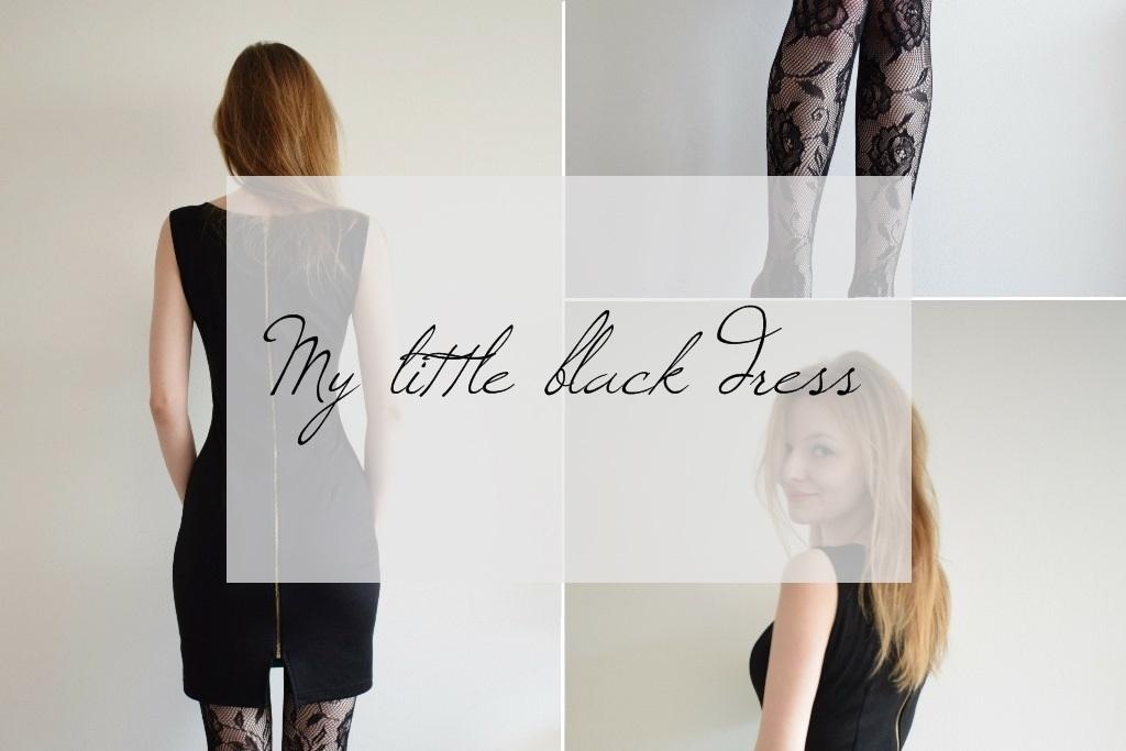 Classic style / Prosta, czarna sukienka i koronkowe rajstopy