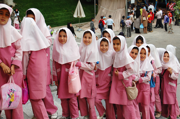 Muslim school girls in Iran