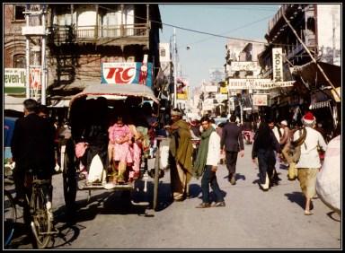 Lahore street scene and pedestrians, circa 1975.