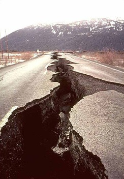 A road split open from an earthquake