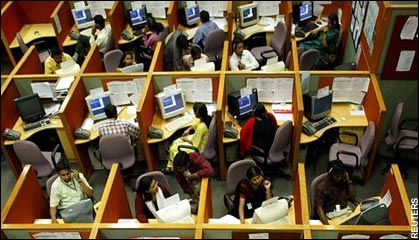 Indian call center employees in cubicles