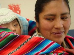 Bolivian woman with her baby