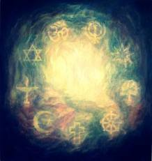 cloud of faith, interfaith, many religious symbols
