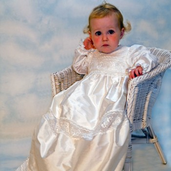 Little girl in her Christening gown