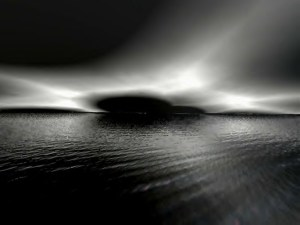 Black Sky and Water, black and white,