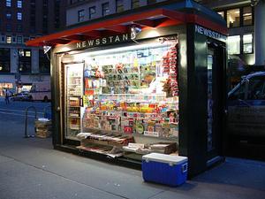 Magazine newsstand in New York