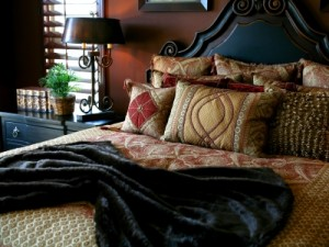 Cozy bed with pillows