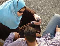 A Muslim couple talking