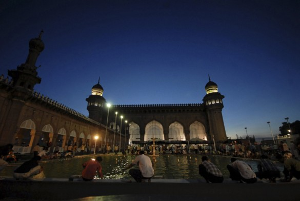 Mecca mosque in Hyderabad India, on the first day of Ramadan