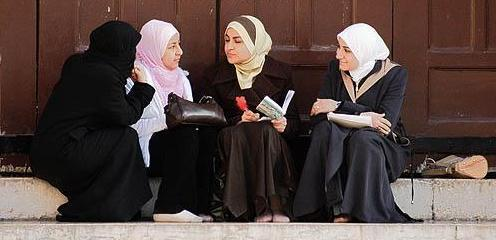 Young Syrian women talking