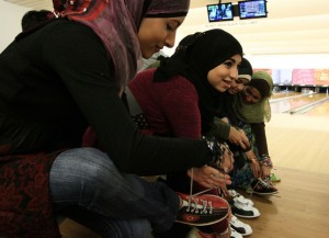 Muslim girls bowling in San Francisco