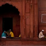 Muslims break their fast at the Jama Masjid mosque in New Delhi, India during Ramadan